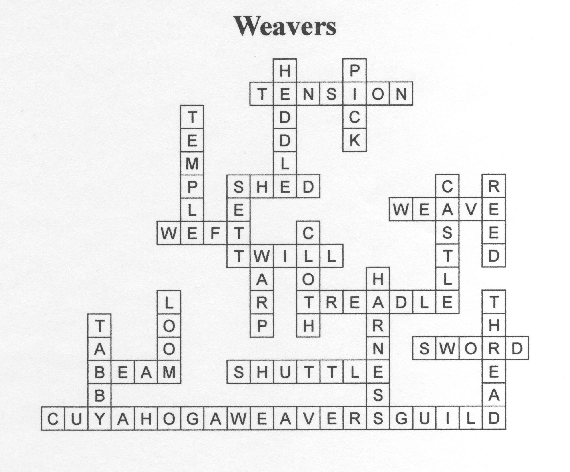 Crossword puzzle answers - Cuyahoga Weavers Guild