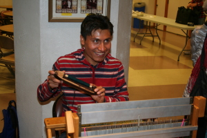 Marcos at the loom