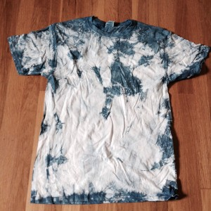 Indigo tie-dye T-shirt made at Praxis Fiber Workshop grand opening