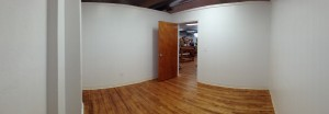 Panoramic view of empty studio room at Praxis Fiber Workshop